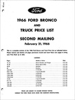 1966 Ford Truck & Bronco Price List