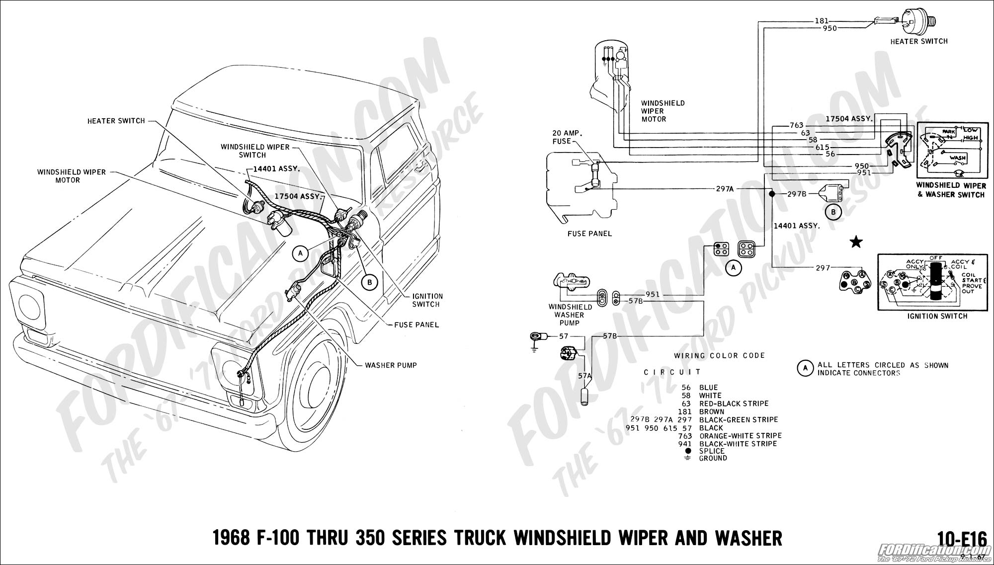 Wiring Diagram For 1963 Ford Econoline Dimmer Switch 52 1994 F 250 68 18 Truck Technical Drawings And Schematics Section H