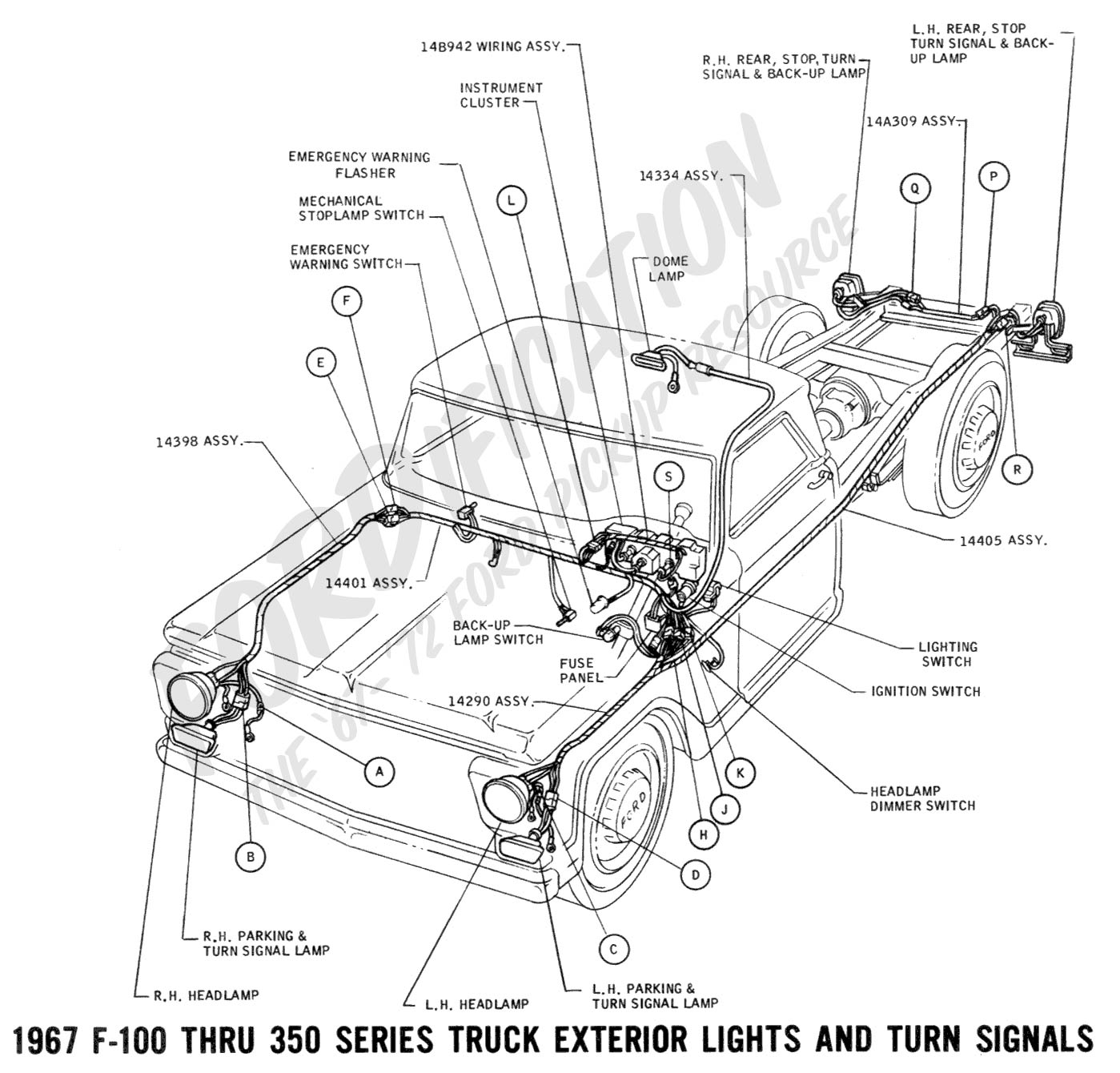 wiring 1967extlights01 ford truck technical drawings and schematics section h wiring Ford F-250 Wiring Diagram at mifinder.co