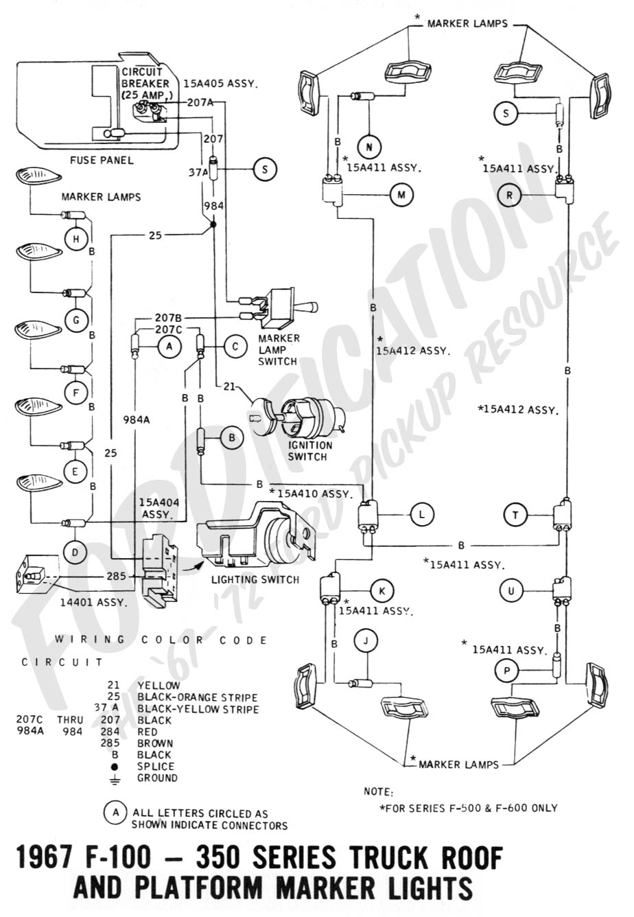 wiring-1967roof&platformlights Windshield Wiper Wiring Diagram Ford F F on
